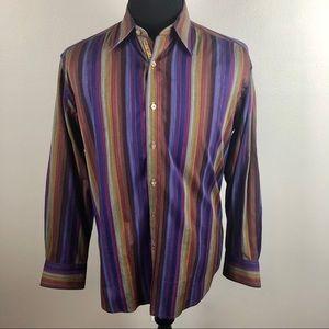 Robert Graham Flip Cuff Striped Shirt Men's L